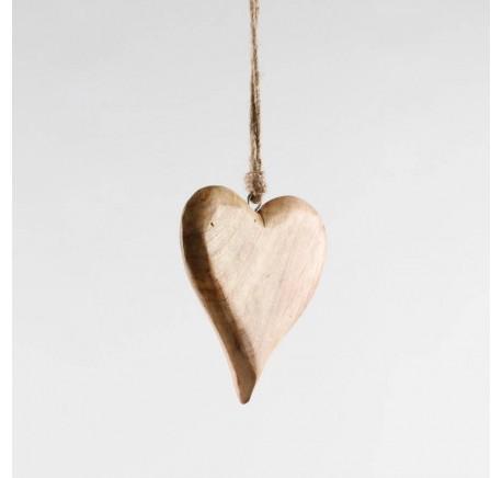 Coeur en bois miel Haut. 15 cm - Décoration de Noël  - Lecomptoirdesauthentics