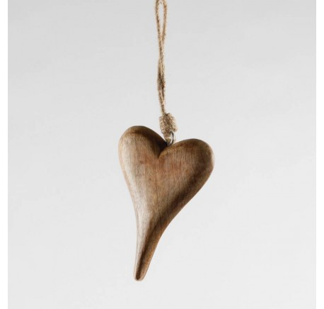 Coeur en bois miel Haut.10 cm  - Décoration de Noël  - Lecomptoirdesauthentics