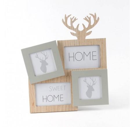 Pêle-mêle HOME SWEET HOME 4 photos bois naturel et gris - Cadre - Lecomptoirdesauthentics