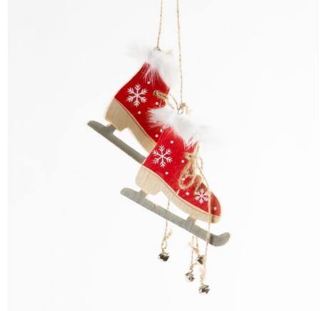 Paire de patins à glace bois rouge motif flocons blancs - Objet déco Maison - DECORATIONS - Lecomptoirdesauthentics