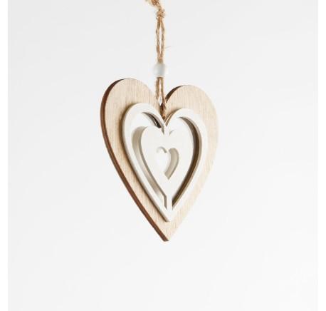 Suspension Coeur en bois naturel et blanc ajouré Haut. 10 cm - Décoration de Noël  - Lecomptoirdesauthentics
