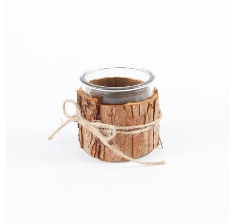 Pot en verre décoratif entouré d'écorce - Photophore - Lecomptoirdesauthentics