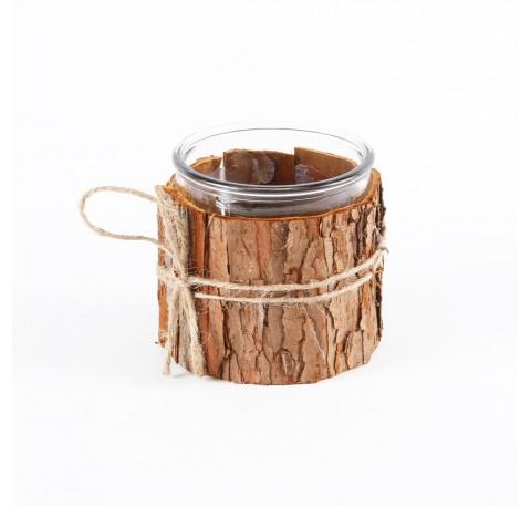 Pot en verre décoratif entouré d'écorce