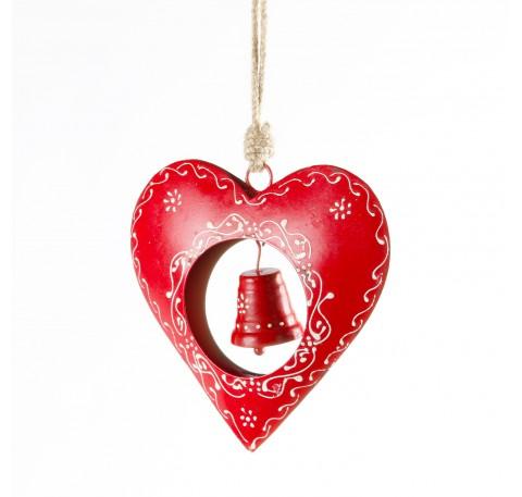 Coeur métal rouge avec cloche