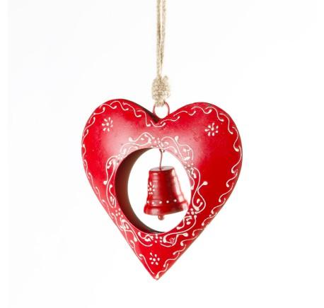 Coeur métal rouge avec cloche -  - Lecomptoirdesauthentics