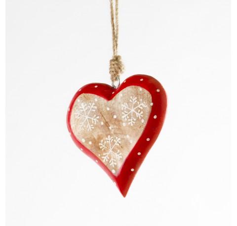 Coeur en bois clair 3 flocons blancs