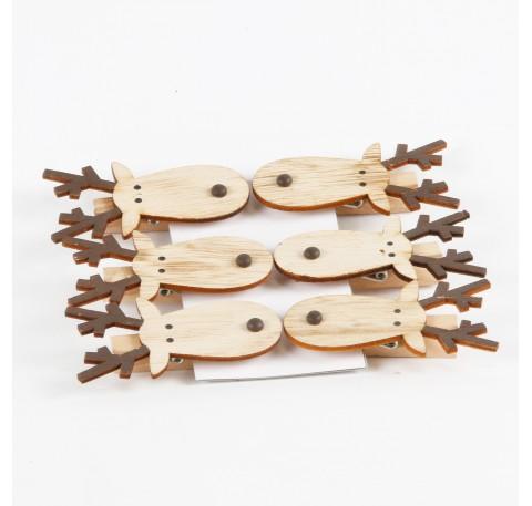 Set de 6 pinces en bois tête de caribou