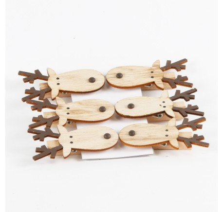 Set de 6 pinces en bois tête de caribou renne - Décoration de Noël  - Lecomptoirdesauthentics