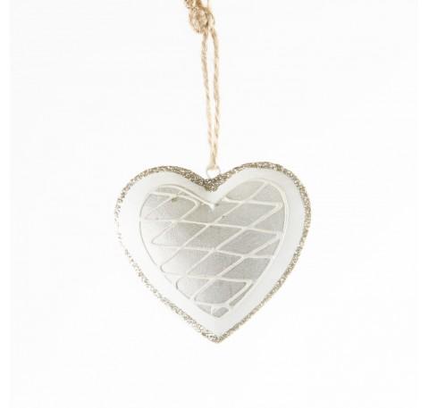 Coeur en métal blanc et argenté