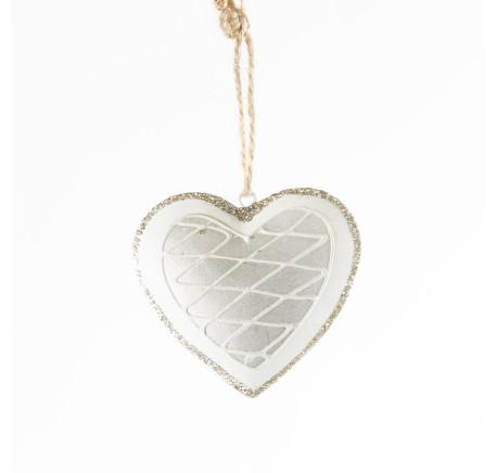 Coeur en métal blanc et argenté - Décoration de Noël  - Lecomptoirdesauthentics
