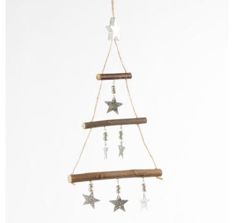 Suspension sapin en bois et étoile en métal argenté  - Décoration de Noël  - Lecomptoirdesauthentics