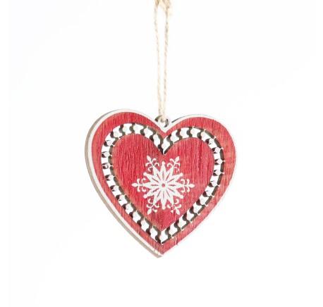 Coeur en bois rouge ajouré motifs flocons blancs  - Décoration de Noël  - Lecomptoirdesauthentics