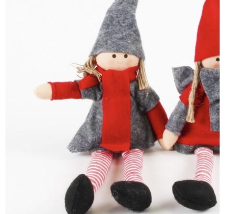 Lutin avec robe feutrine grise Haut. 40 cm - Décoration de Noël  - Lecomptoirdesauthentics