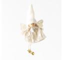 Ange Fille feutrine lin pois blanc jambes en ficelles