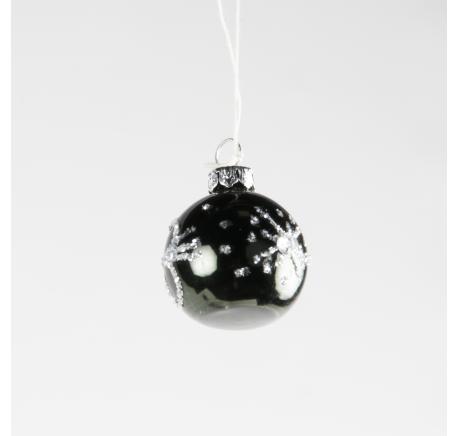 Boule de Noël à Noir Brillant à poser ou suspendre - Décoration de Noël  - Lecomptoirdesauthentics