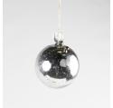 Boule de Noël Verre Reflets Miroir Argentés clochette