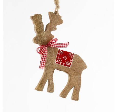 Cerf en bois miel décor rouge Haut. 15 cm  - Décoration de Noël  - Lecomptoirdesauthentics