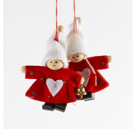 Lutin Fille en feutrine veste rouge avec coeur blanc et bonnet blanc Haut. 9 cm - Décoration de Noël  - Lecomptoirdesauthentics