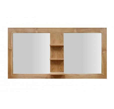 Miroir Teck Massif Salle de bain 3 étagères 140 cm - Salle de bain - Lecomptoirdesauthentics