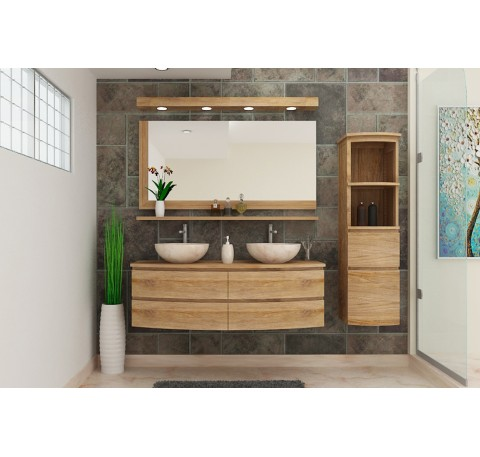 Meuble Salle de bain Teck Massif ECLIPSE double vasque 4 Tiroirs