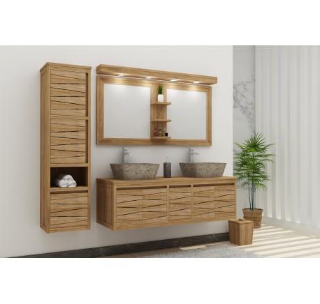 Meuble Salle de bain Teck Massif FLY HARMONY double vasque 4 portes 1 tiroir - Salle de bain - Lecomptoirdesauthentics