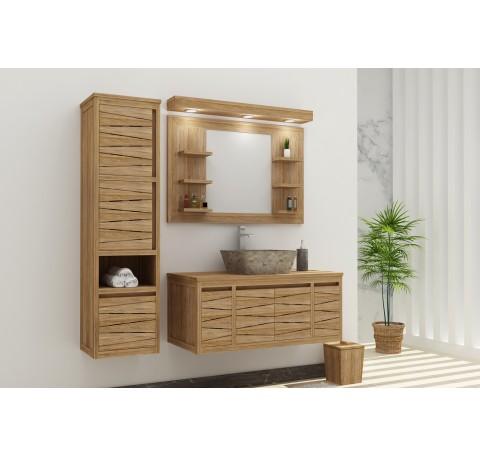Meuble Salle de bain Teck Massif FLY HARMONY 1 vasque 2 portes 2 tiroirs