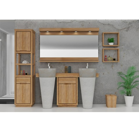 Meuble Salle de bain Teck Massif  INTEGRALE double vasque 1 porte 1 tiroir