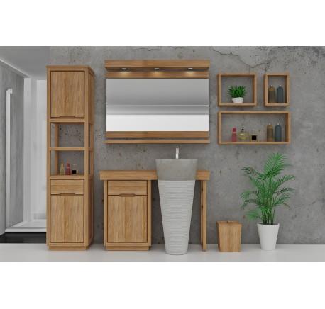 Meuble Salle de bain Teck Massif INTEGRALE 1 vasque 1 porte 1 tiroir - Salle de bain - Lecomptoirdesauthentics