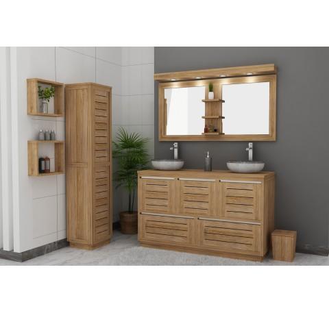 Meuble Salle de bain Teck Massif LATITUDE double vasque 3 portes 2 tiroirs