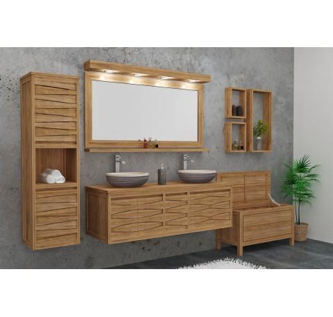 Meuble Salle de bain Teck Massif MOUNTAIN double vasque 4 portes 1 tiroir
