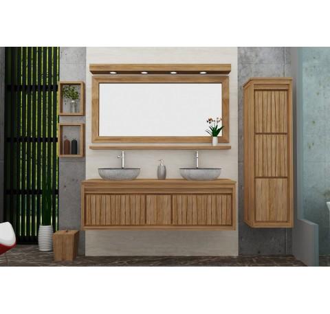 Meuble Salle de bain Teck Massif NEO SWING double vasque 2 portes 1 tiroir