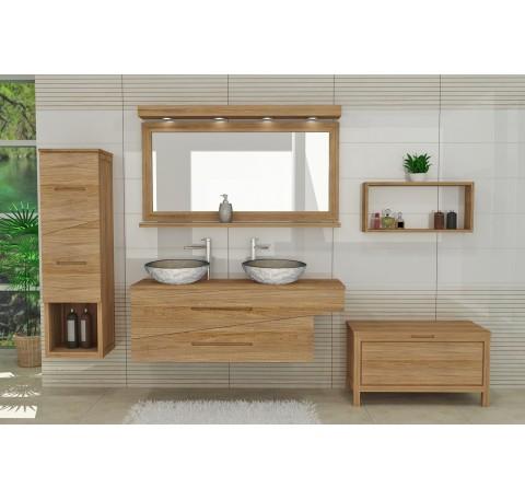 Meuble Salle de bain Teck Massif ONDINE double vasque 2 tiroirs