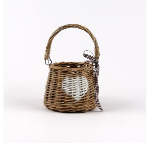 Panier Rotin COEUR avec Vase Pot Verre Ht 12 cm