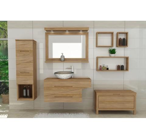 Meuble de Salle de bain Teck Massif ONDINE 1 vasque 2 tiroirs