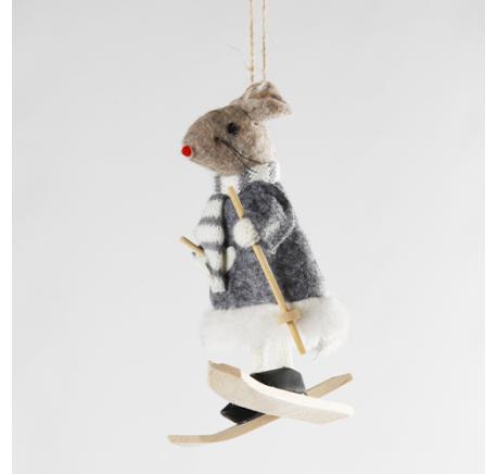 Souris skieur en feutrine grise - Décoration de Noël  - Lecomptoirdesauthentics