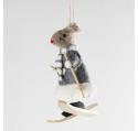 Souris skieur en feutrine grise