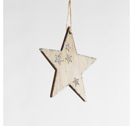 Etoile en bois contour pailleté - Décoration de Noël  - Lecomptoirdesauthentics