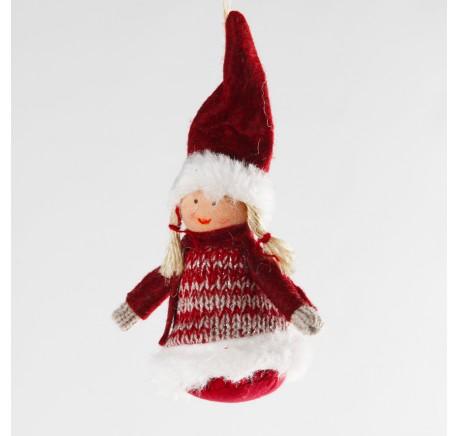 Ange rouge CLARA à suspendre en feutrine 8 cm - Décoration de Noël  - Lecomptoirdesauthentics