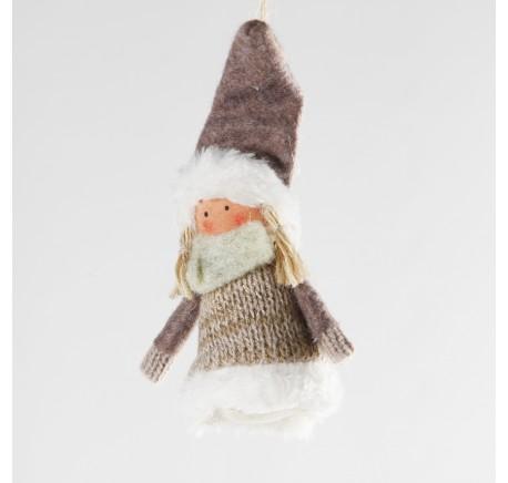 Ange beige CLARA à suspendre en feutrine 8 cm - Décoration de Noël  - Lecomptoirdesauthentics
