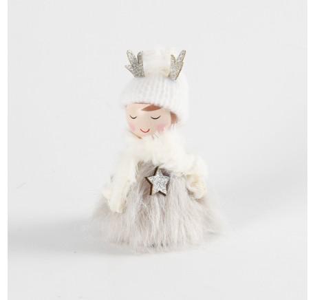 Déco de Noël lutin fourrure bois MARYLINE à poser 10 cm - Décoration de Noël  - Lecomptoirdesauthentics