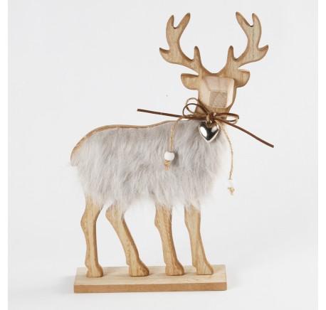 Renne à poser Bois Fourrure 20 cm  - Décoration de Noël  - Lecomptoirdesauthentics