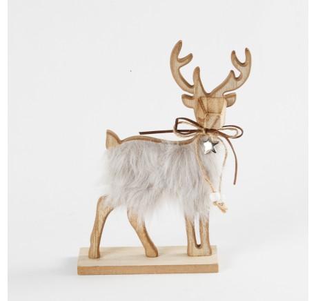 Renne à poser Bois Fourrure 14 cm  - Décoration de Noël  - Lecomptoirdesauthentics