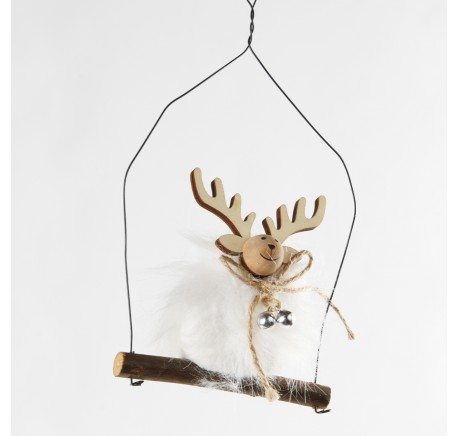 Suspension de Noël renne sur balançoire bois 18 cm - Décoration de Noël  - Lecomptoirdesauthentics