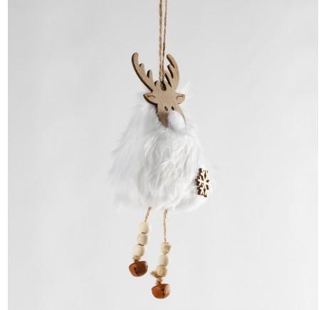 Suspension de Noël renne bois et grelots 24 cm  - Décoration de Noël  - Lecomptoirdesauthentics