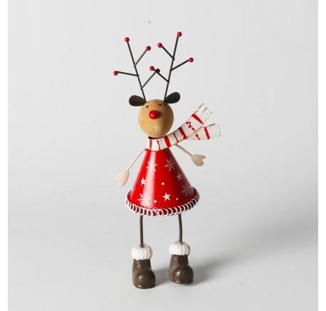 Renne de Noël en bois et métal rouge 20,5 cm - Décoration de Noël  - Lecomptoirdesauthentics