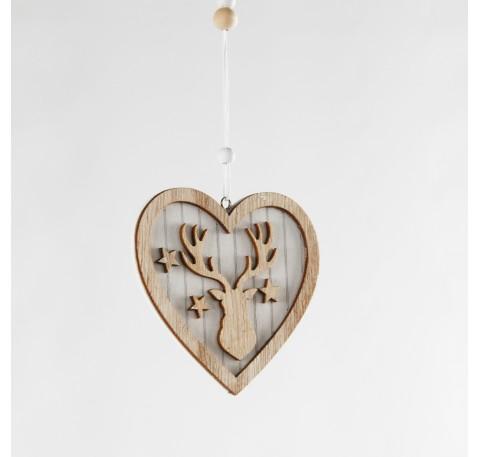 Coeur en bois RENNE étoiles à suspendre