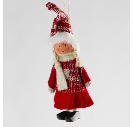 Lutin fille à suspendre ANDREA 10 cm - Décoration de Noël  - Lecomptoirdesauthentics