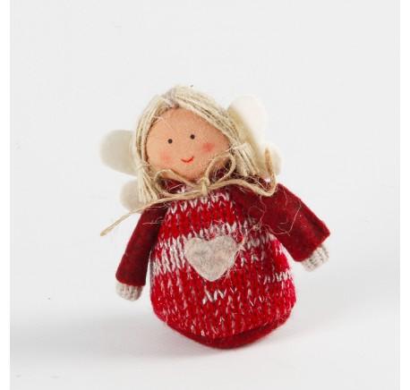 Ange rouge THEA à suspendre en feutrine 8 cm - Décoration de Noël  - Lecomptoirdesauthentics