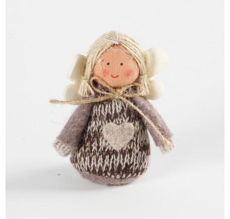 Ange beige THEA à suspendre en feutrine 8 cm - Décoration de Noël  - Lecomptoirdesauthentics