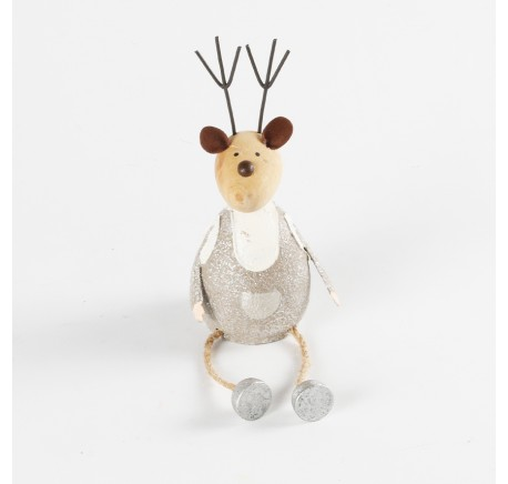 Cerf Renne à poser métal argenté 14,5 cm - Décoration de Noël  - Lecomptoirdesauthentics